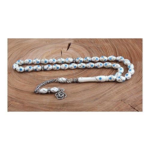 LaModaHome Camel Bone Blue Enamel Silver Rosary Tassels (Blue Enamel Bone)