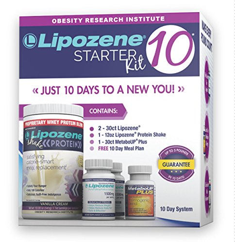 Lipozene 10 Starter Kit - Complete Diet and Nutrition Plan Including Protein Shake, Lipozene Appetite Suppressants, Meal Plan, and MetaboUP Thermogenic Metabolic (Metabolic Shake)