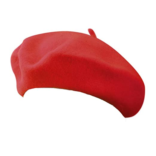 b414cdfaf7758 Image Unavailable. Image not available for. Color  Red Beret 100% Wool  French Parisian Hat