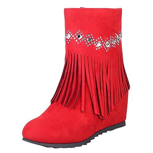 Hidden Red Heel Tassels Charm Boots Elegant Women's Carolbar Zip Short wzfgqIn