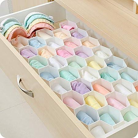 partición de nido de abeja caja de almacenamiento cajón de ropa interior de almacenamiento de escritorio celosía calcetines de plástico interior del compartimiento de la organización de las cajas: Amazon.es: Hogar