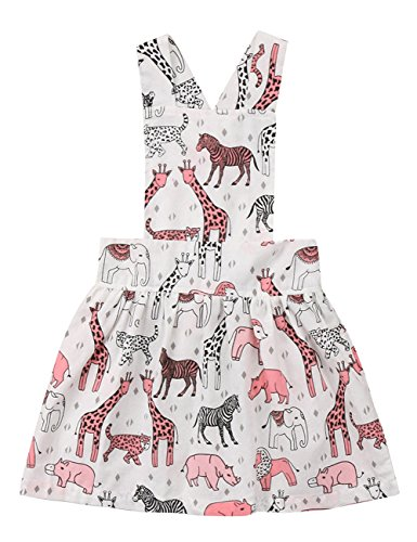 Print Animal Girls (ThreeC Kids Baby Girls Sleeveless Animal Zoo Print Suspender Skirt Toddler Girl Dress (120(5-6T)))