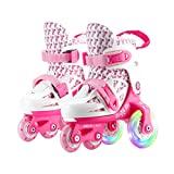 YANGXIAOYU Adult Beginner Children Triangle Structure Skates, Professional Roller Shoes, Anti-Collision Shock Absorber Rear Wheel Flash, Helmet + Protective Gear (Color : Pink+White, Size : 25-29)