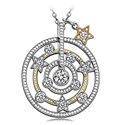 Silver Round Star Gold Plated Necklace Gifts