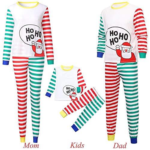2PCS Christmas Children Cartoon Santa Top+Stripe Pants Family Clothes Pajamas ()