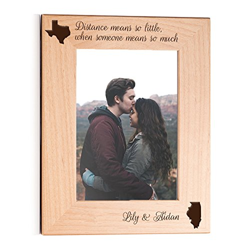 Lifetime Creations Engraved Personalized Long Distance Picture Frame 5x7 Frame - Long Distance Relationship Gift, Long Distance Girlfriend