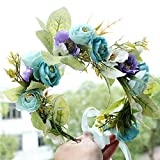 Women Girl Rose Flower Crown Wreath Wedding Bridal Artificial Flower Headband Tiara Hair Floral Hair Band Hair Accessories Blue