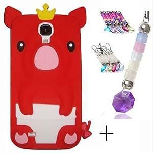 Semoss 2 in 1 Teléfono Accesorios - Funda de Silicona cerdo Carcasa Cover con protector de la pantalla para Samsung Galaxy S4 i9500 i9505 Rojo