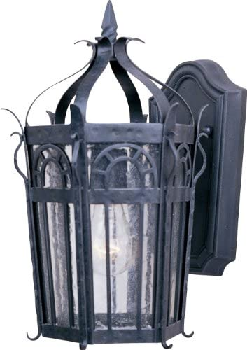 Maxim 30041CDCF Cathedral Seedy Glass Outdoor Wall Sconce, 1-Light 40 Watt, 15 H x 9 W, Country Forge