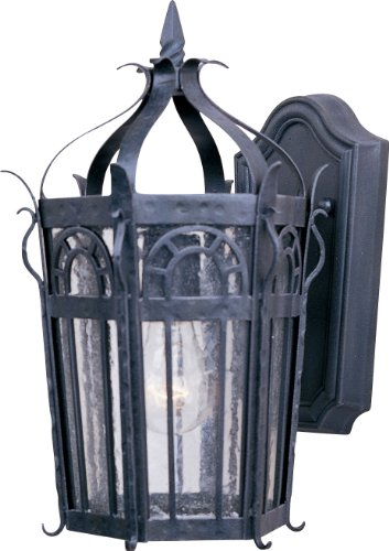 Maxim 30041CDCF Cathedral 1-Light Outdoor Wall Lantern, Country Forge Finish, Seedy Glass, MB Incandescent Incandescent Bulb , 100W Max., Dry Safety Rating, Standard Dimmable, Glass Shade Material, 5750 Rated Lumens