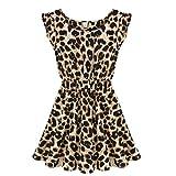 Thinkbay® Sexy Womens Crew Neck Leopard Print Party Tunic Skater Swing Mini Dress Sundress (XL/US8/UK12/EU38)