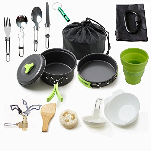 Camping Cookware Mess Kit Backpacking Gear & Hiking Outdoors Bug Out Bag Cooking Equipment 18 Piece Cookset (Green) ...