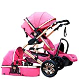Baby Stroller,Babyfond-JTBS,T900 Folding Travel System Pushchair,Lightweight Sleeping Bassinet,Hand-held Safe Seat for 0-3 Year Old Newborn (Hot Pink)
