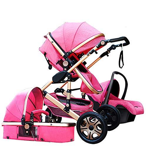 Baby Stroller,Babyfond-JTBS,T900 Folding Travel System Pushchair,Lightweight Sleeping Bassinet,Hand-held Safe Seat for 0-3 Year Old Newborn (Hot Pink)