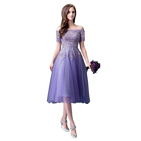 Bride Gown Wedding Dress Off Collar Waist Purple Sequins Medium ...
