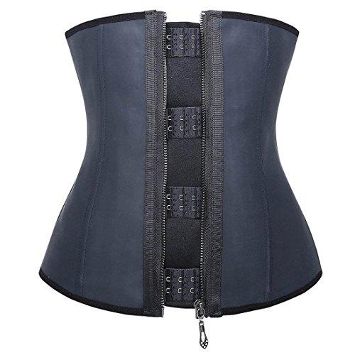 [Women's Latex Waist Trainer for Weight Loss Corset Cincher Rubber Body Slimming Shaper (L, Hooks & Zipper)] (Weight Latex)