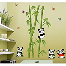 Lovely Pandas Bamboo Wall Decal Home Sticker House Decoration WallPaper Removable Living Dinning Room Bedroom Kitchen Art Picture Murals DIY Stick Girls Boys kids Nursery Baby Playroom Decoration
