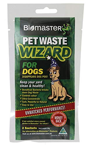 Biomaster Pet Waste Wizard Digester Sachets, Beneficial Bacteria to Break Down Waste, (100% Natural Concentrate, 2 Sachets)