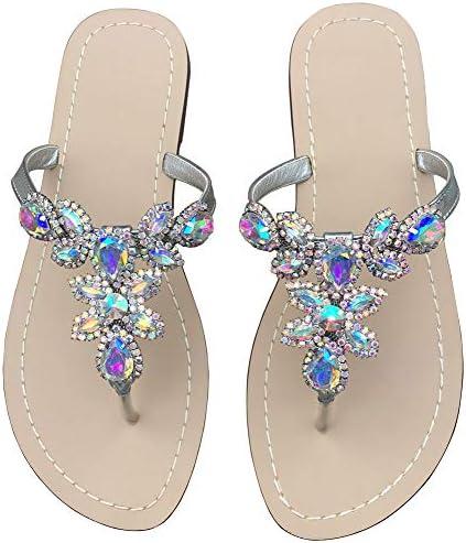 Hinyyrin Summer Flat Sandals Shoes,Bohemian Rhinestone T