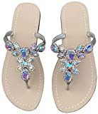 Hinyyrin Summer Flat Sandals Shoes,Bohemian Rhinestone T Strap Flip Flop Low Heel Shoes Silvery Size 9