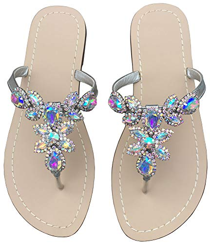 - Hinyyrin Summer Flat Sandals Shoes,Bohemian Rhinestone T Strap Flip Flop Low Heel Shoes Silvery Size 11