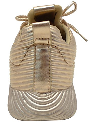 Wilde Diva Dames Lace-up Geweven Mono Casual Sport Mode Sneaker Rose Goud Pu