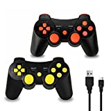 2 Pack PS3 Controller Wireless, Dual Vibration Sixaxis Game Remote control Customized Gamepad for Sony PlayStation 3 PS3, Charge Cable Included (Red/Yellow) Review