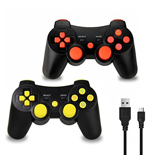 2 Pack PS3 Controller Wireless, Dual Vibration Sixaxis Game Remote control Customized Gamepad for Sony PlayStation 3 PS3, Charge Cable Included (Red/Yellow)