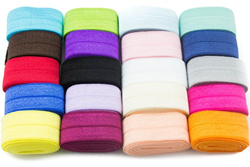 JLIKA Fold Over Elastic Stretch Foldover FOE Elastics for Hair Ties HeadBands Variety Color Pack 20 Yards