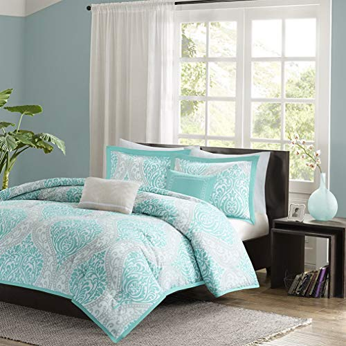 Toile Neckroll - Kaputar Beautiful Modern Chic Light Aqua Blue Grey Soft Comforter Set 2 Pillows | Model CMFRTRSTS - 1444 | Full