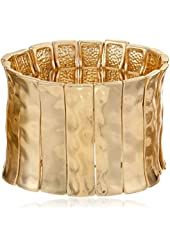Steve Madden Mixed Metallica Hammered Gold-Tone Segmented Stretch Bracelet