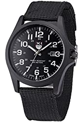 Creazy® Outdoor Mens Date Stainless Steel Military Sports Analog Quartz Army Wrist Watch