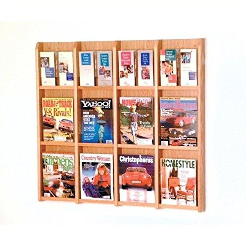 Oak Ridge Display - Wooden Mallet 12-Magazine/24-Brochure Divulge Wall Display with Brochure Inserts, Light Oak