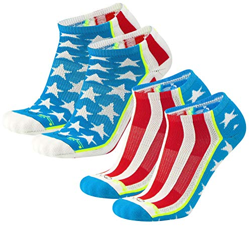 (Brand 59 Stars and Stripes Low Cut Golf Socks (Red/White/Electric Blue (2 Pairs), Small))
