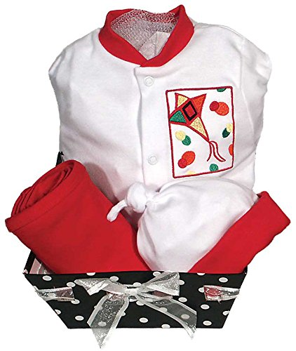 Raindrops Delightful Brights Kite Footie Gift Set, Red/Black, 3-6 Months, 4 Piece