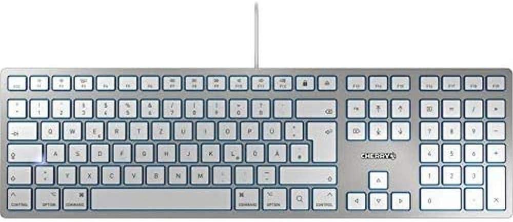 CHERRY KC 6000 Slim FOR Mac – USB Keyboard – Ultraflaches Design – Kabelgebunden – Deutsches Layout – QWERTZ Tastatur – Silber