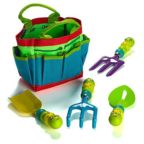 Prextex Metal, Sturdy Garden Tools, Kids Garden Tool Set Includes Canvas Tote and 4 Garden Tools with Adorable Bugs as Tool Handles ()