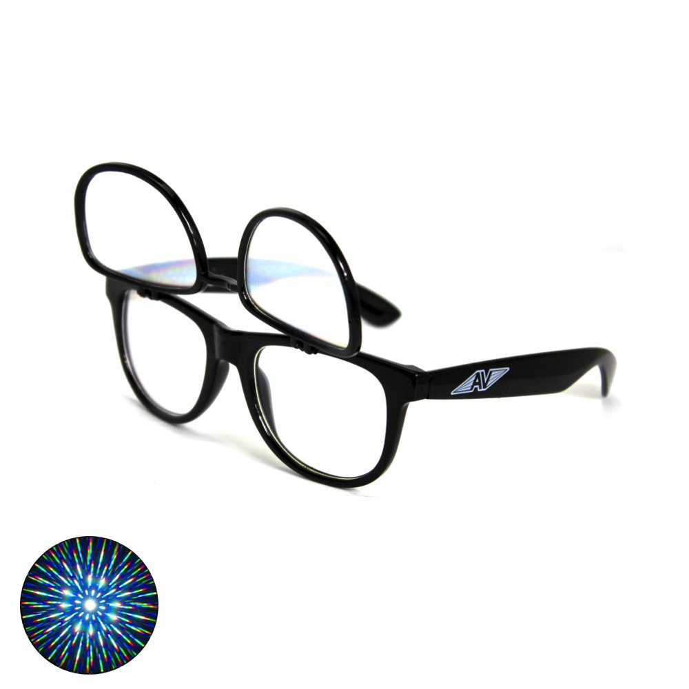 Flip Up Double Diffraction Glasses - Black Auroravizion