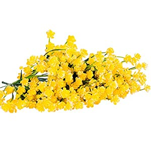 Foraineam 10 Bundles Yellow Daffodils Artificial Flowers Fake Plants Plastic Bushes Greenery Shrubs Fence Indoor Outdoor Hanging Planter Home Garden Decor 6
