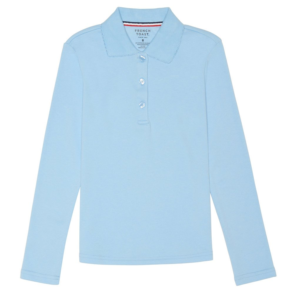 French Toast Girls Plus Size' Long Sleeve Picot Collar Interlock Polo SA9424P