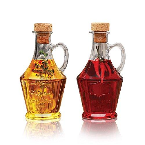 Tabletop Cruets Dispenser 9.5 oz. Oil and Vinegar Bottles Set of 2, with Handles and Removable Cork Lids
