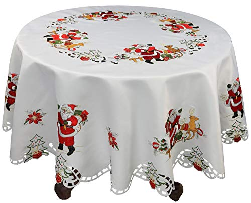 "day Christmas Tablecloth 86"" Round with 12 Napkins Embroidered Santa Reindeer Red Poinsettia Winter Table Linen White ()"