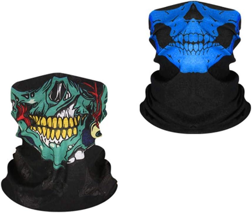 Máscara de cráneo respirable máscara de cráneo máscaras faciales sin costuras UV protección bufanda cuello polaina para polvo, pesca, deportes al aire libre