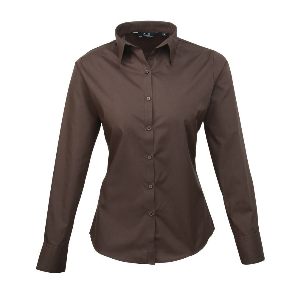Premier Women's Poplin Long Sleeve Blouse Plain Work Shirt