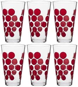 Zak Designs Dot Dot High Ball Tumbler, 19-Ounce, Red, Set of 6 by Zak Designs