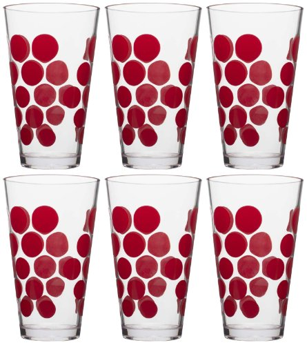 (Zak Designs 6 Piece Dot Dot 20oz Durable Plastic Hiball Tumbler for Indoor and Outdoor Use, Red DD )