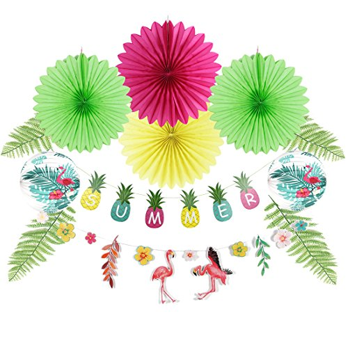 - Summer Flamingo Party Decoration, Tissue Paper Fans, Colorful Summer Paper Banner, Flamingo Hibiscus Flowers Garland, Flamingo Paper Accordion Lanterns, Artificial Pine Branches Leaves, 12Pcs Easy Joy