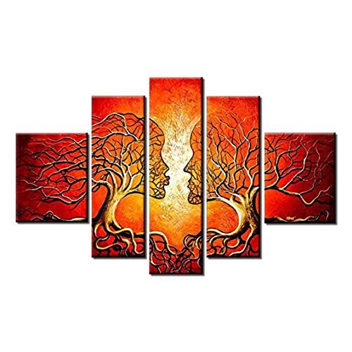 VASTING ART 5-Panel 100% Hand-Painted Oil Paintings Couple Human Kiss Tree Love Story Modern Abstract Stretched Wood Framed Ready Hang Red Face Home Decoration Wall Decor Living Room Bedroom Kitchen
