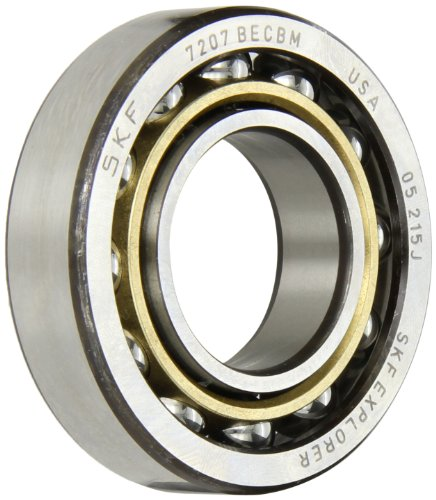SKF 7207 BECBM Light Series Angular Contact Ball Bearing, Universal Mounting, ABEC 1 Precision, 40° Contact Angle, Open, Brass Cage, Normal Clearance, 35mm Bore, 72mm OD, 17mm Width, 19000.0 pounds Static Load Capacity, 29100.00 pounds Dynamic Load Capacity (Contact Becbm Angular Bearing)