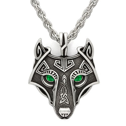 TTKP Norse Vikings Pendant Necklace Norse Wolf Head Necklace Original Animal Jewelry Wolf Head hange (Necklace Animal Jewelry)